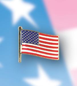 GOD BLESS AMERICA BRASS ENAMELED AMERICAN FLAG