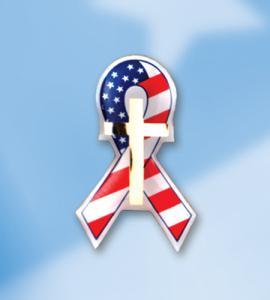GOD BLESS AMERICA ENAMELED FLAG RIBBON WITH CROSS