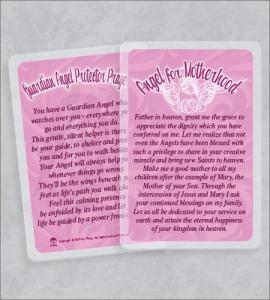 Angel For Motherhood Laminated Prayer Card