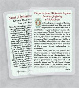 ST ALPHONSUS LIGUORI/ARTHRITIS LAMINATED HEALING PRAYER CARD
