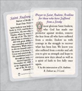 ST ANDREW AVELLINO/STROKE LAMINATED HEALING PRAYER CARD