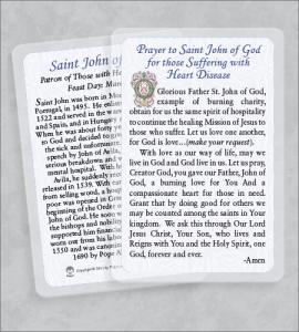 ST JOHN OF GOD/HEART DISEASE LAMINATED HEALING PRAYER CARD
