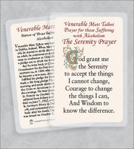 MATT TALBOT/ALCHOLISM LAMINATED HEALING PRAYER CARD