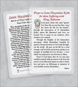 ST MAXIMILIAN KOLBE/DRUG ADDICTION LAMINATED HEALING PRAYER CD