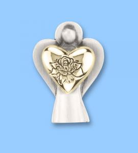 Forever In My Heart Gold Angel Pin