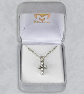 PEARL CROSS PENDANT WITH CRYSTAL