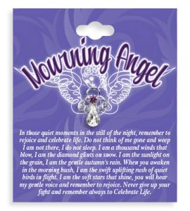 Mourning Angel Crystal Lapel Pin