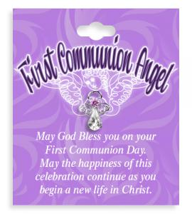 First Communion Angel Crystal Lapel Pin