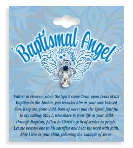 Boy Baptismal Angel Crystal Lapel Pin