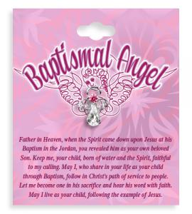 Girl Baptismal Angel Crystal Lapel Pin