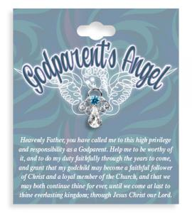 Godparents Angel Crystal Lapel Pin