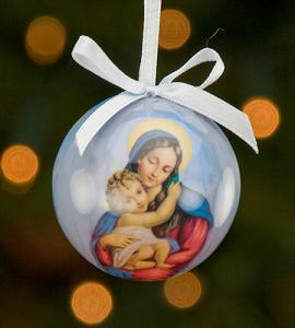 50 mm Madonna & Child Decoupage Ornament