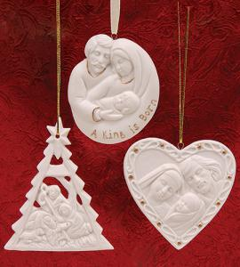 Assorted Porcelain Holy Family Ornament With Gold Highlights