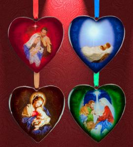 3in Assorted Heart Shaped Wood Epoxy Ornament