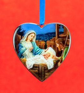 3in Madonna & Child Heart Shaped Ornament
