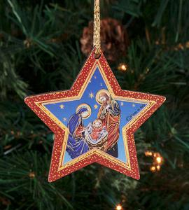 3in Wood Star Holy Family Ornament