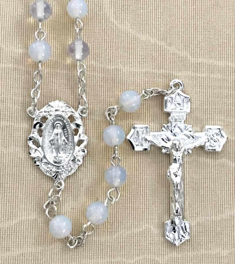 6mm OPAL GEMSTONE ROSARY WITH STERLING SILVER PLATED CRUCIFIX AND CENTER GIFT BOXED