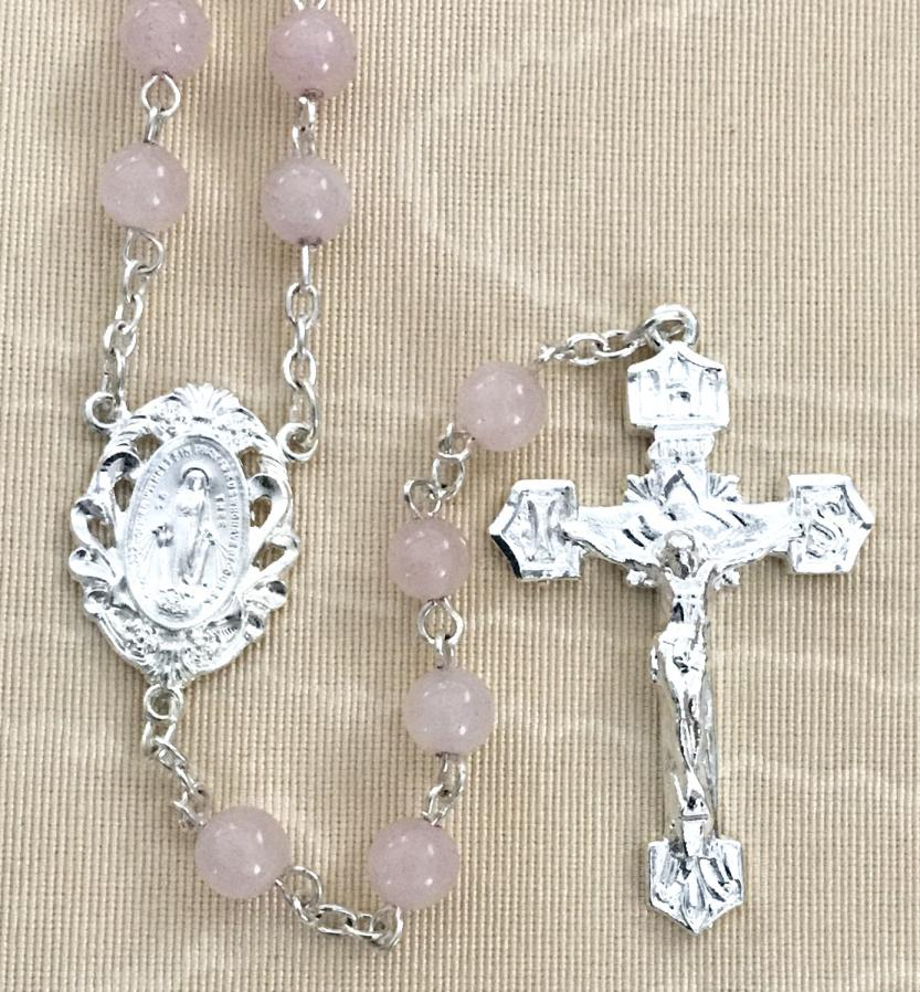 6mm ROSE QUARTZ GEMSTONE ROSARY WITH STRERLING SILVER PLATED CRUCIFIX AND CENTER GIFT BOXED