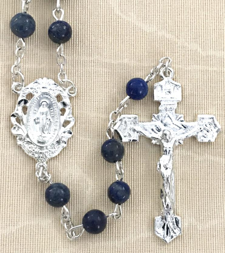 6mm LAPIS GEMSTONE ROSARY WITH STERLING SILVER PLATED CRUCIFIX AND CENTER GIFT BOXED