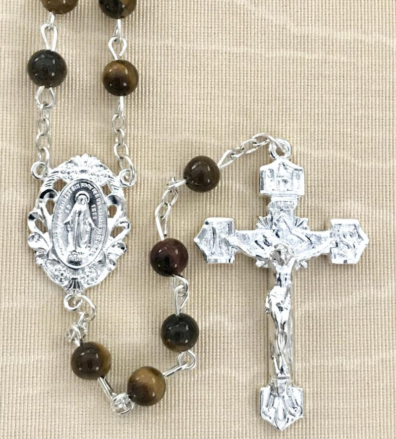 6mm TIGERS EYE GEMSTONE ROSARY WITH STERLING SILVER PLATED CRUCIFIX AND CENTER GIFT BOXED