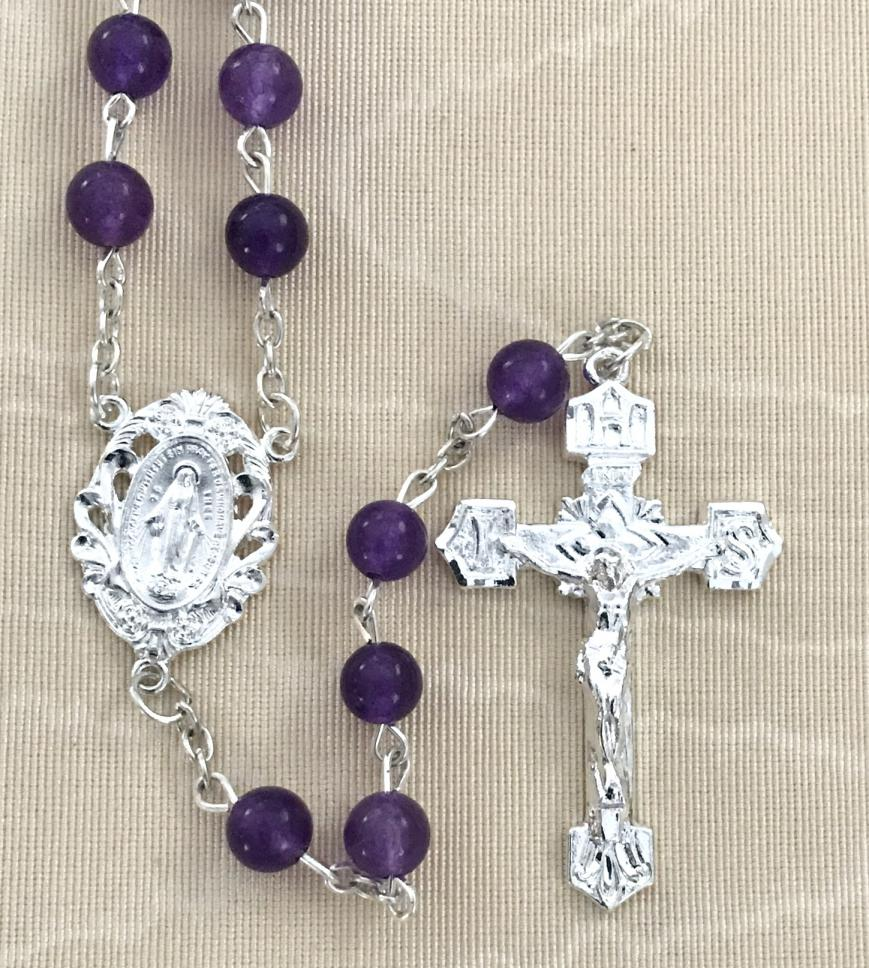 6mm AMETHYST GEMSTONE ROSARY WITH STERLING SILVER PLATED CRUCIFIX AND CENTER GIFT BOXED