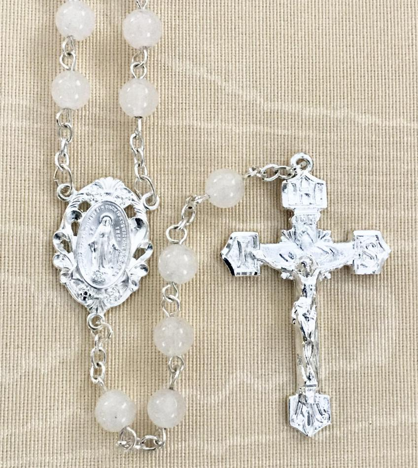 6mm JADE GEMSTONE ROSARY WITH STERLING SILVER PLATED CRUCIFIX AND CENTER GIFT BOXED