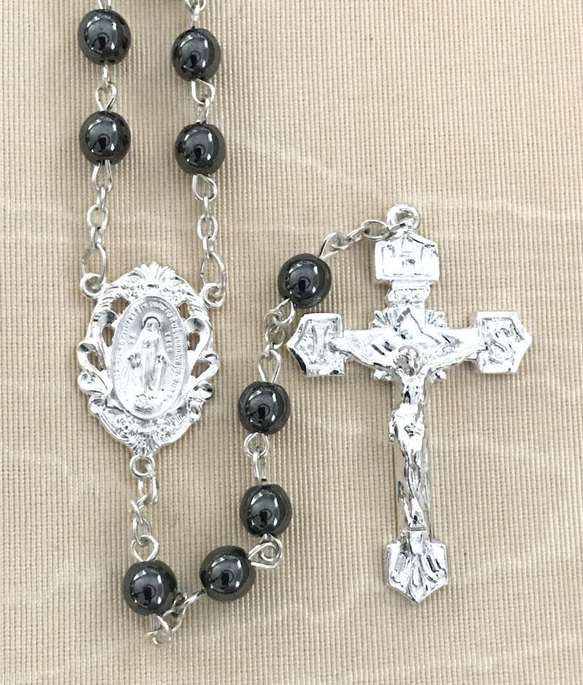 6mm HEMATITE GEMSTONE ROSARY WITH STERLING SILVER PLATED CRUCIFIX AND CENTER GIFT BOXED