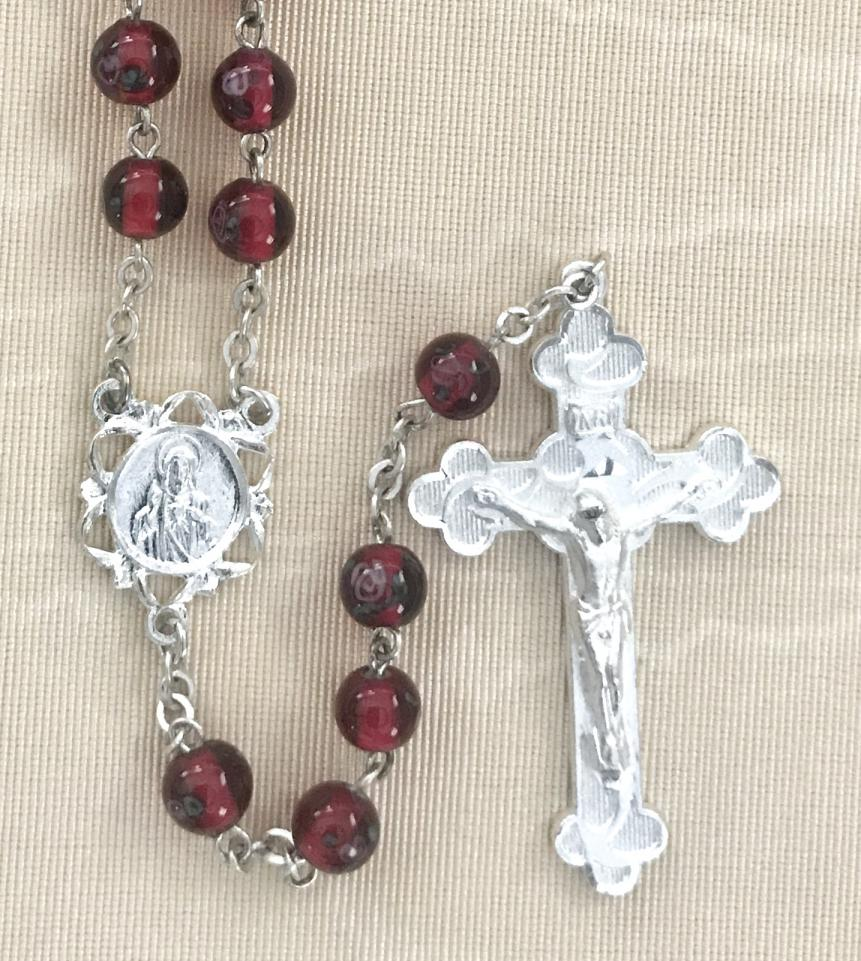 6mm RUBY FLORAL HAND PAINTED ROSARY WITH STERLING SILVER PLATED CRUCIFIX AND CENTER GIFT BOXED