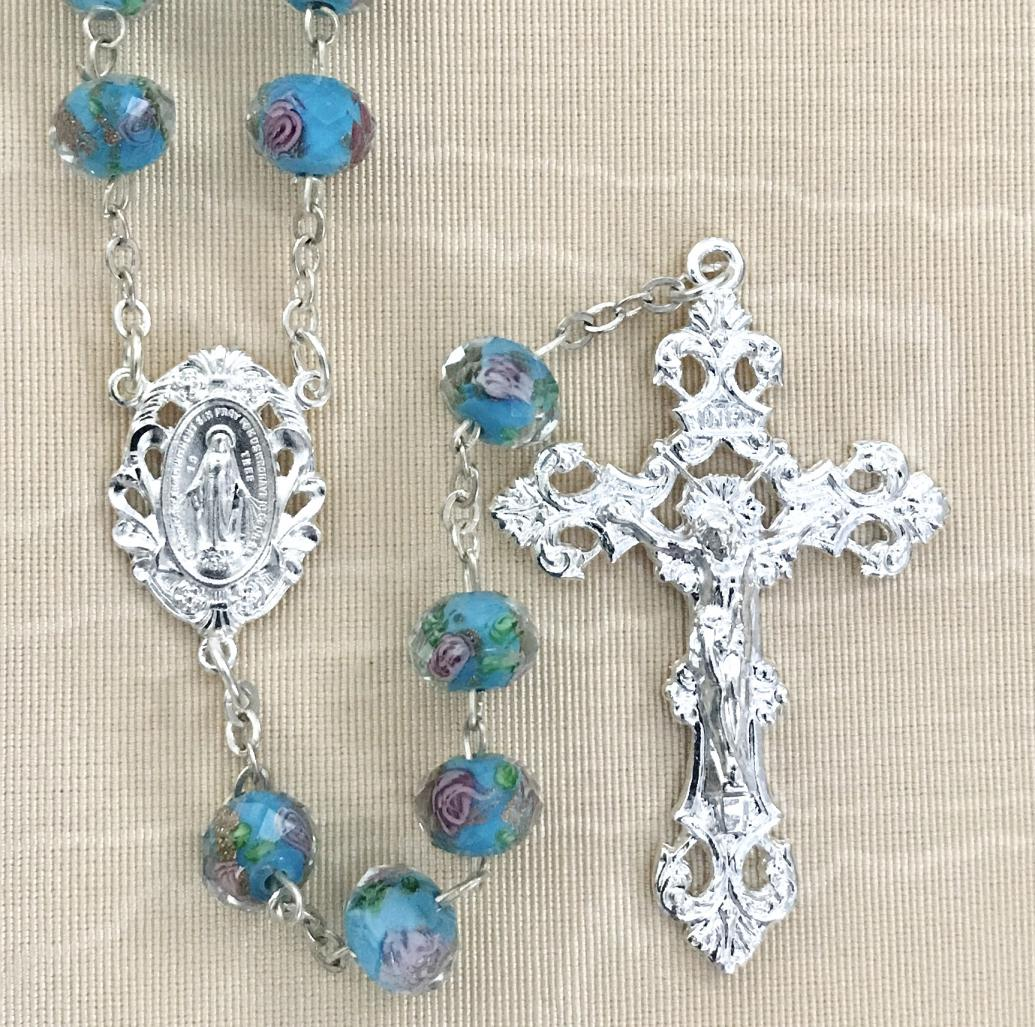 10x8MM AQUA HAND PAINTED ROSE  ROSARY WITH STERLING SILVER PLATED CRUCIFIX AND CENTER GIFT BOXED