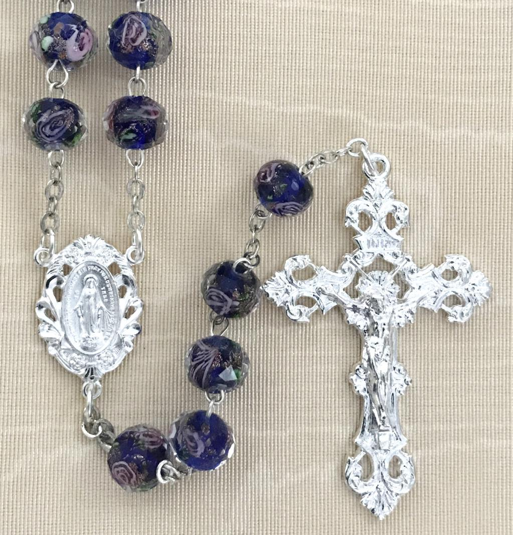 10x8MM SAPPHIRE HAND PAINTED ROSE ROSARY WITH STERLING SILVER PLATED CRUCIFIX AND CENTER GIFT BOXED