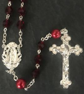 6mm GARNET with PEARL OUR FATHER S.S. PLATE LOC-LINK ROSARY BOXED