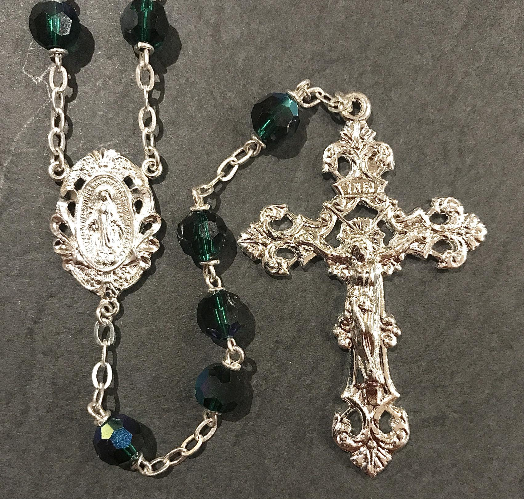 7mm EMERALD TIN CUT AB ROSARY WITH STERLING SILVER PLATED CRUCIFIX, CENTER, WIRE, CHAIN GIFT BOXED