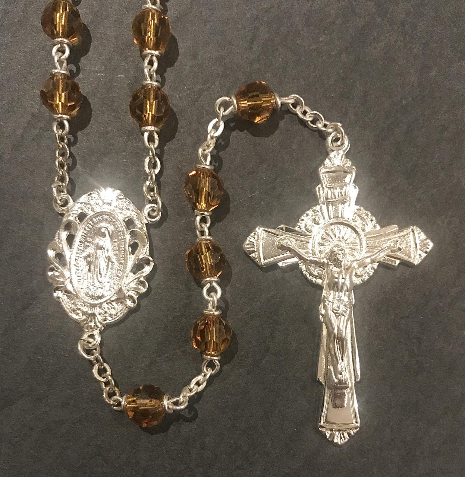 6mm TOPAZ TIN CUT LOC-LINK ROSARY WITH STERLING SILVER PLATED CRUCIFIX, CENTER, WIRE, CHAIN GIFT BOXED