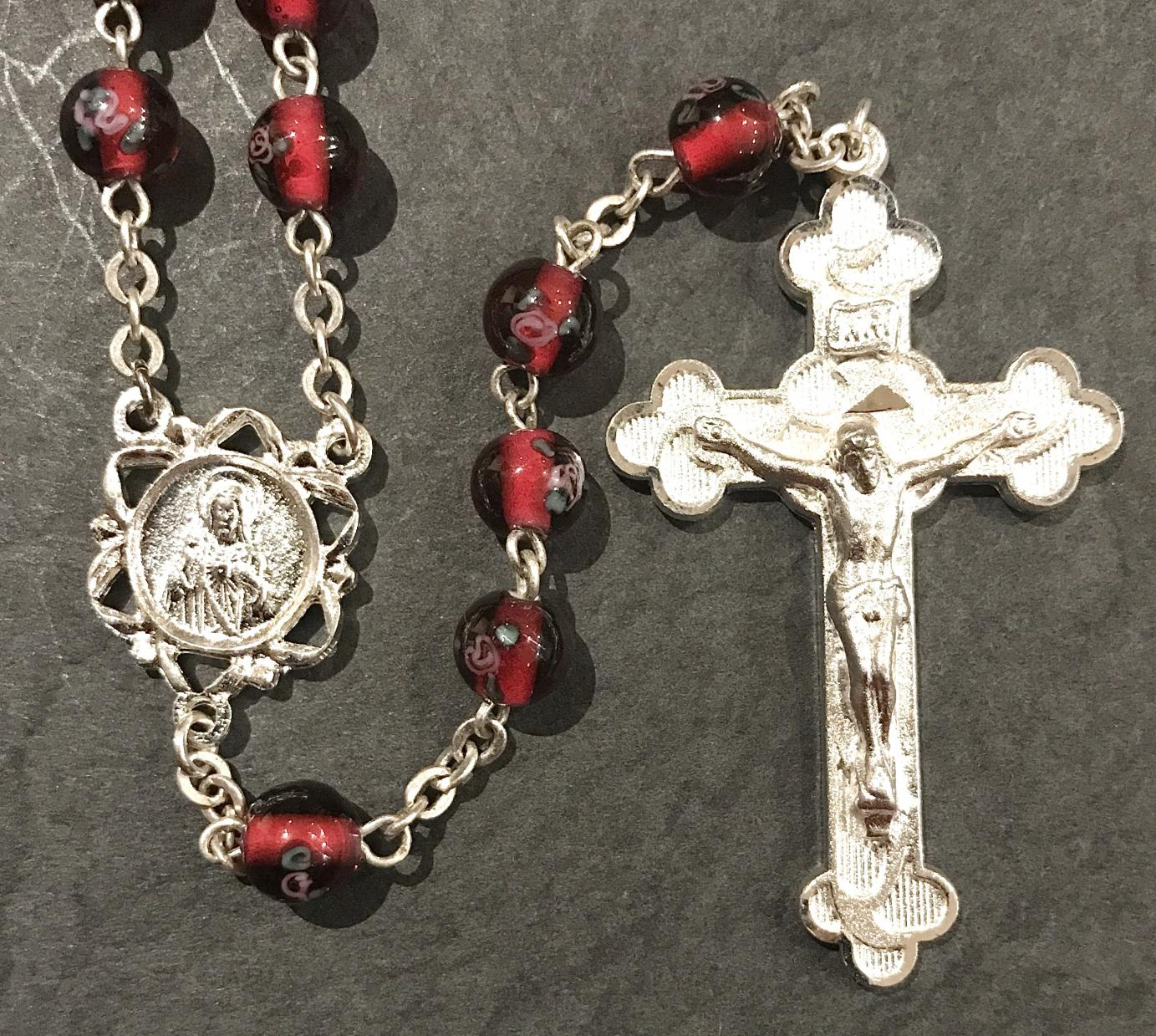 6mm HAND PAINTED RUBY LAMP BEAD ROSARY WITH STERLING SILVER PLATED CRUCIFIX, CENTER, WIRE, CHAIN GIFT BOXED