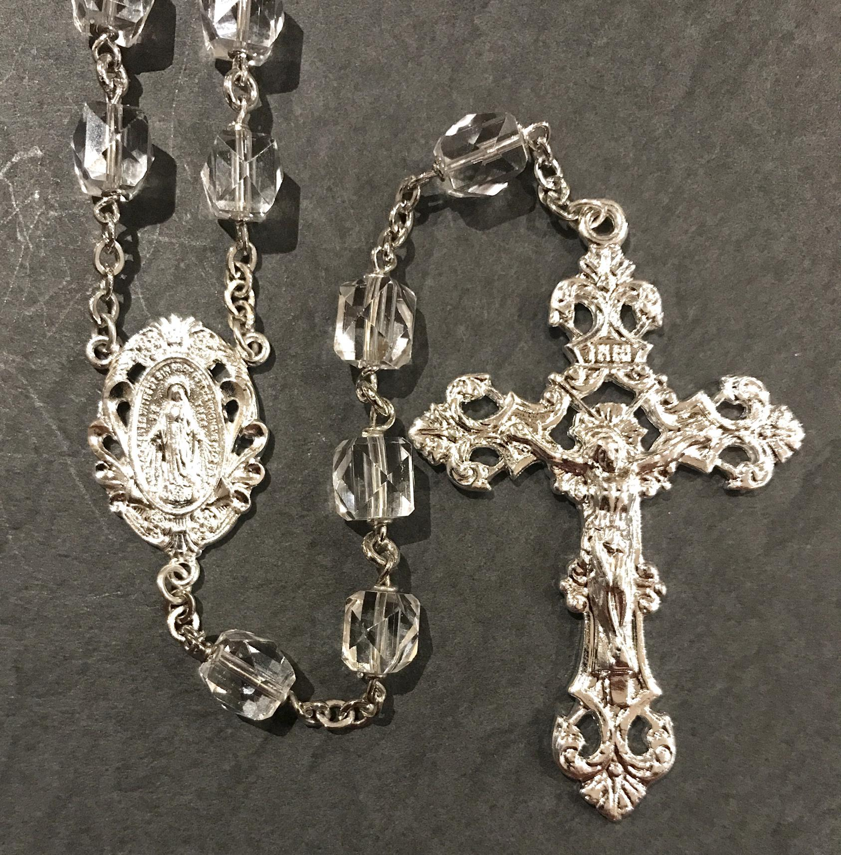 7mm MULTI FACETED ROCK CRYSTAL BEAD ROSARY WITH HAND TWISTED CONSTRUCTION AND STERLING SILVER PLATED CRUCIFIX, CENTER, WIRE, CHAIN GIFT BOXED
