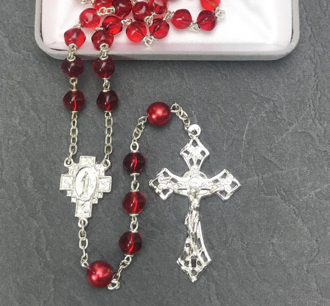 7mm RUBY WITH RED PEARL OUR FATHER BEADS WITH STERLING SILVER PLATE ROSARY- GIFT BOXED