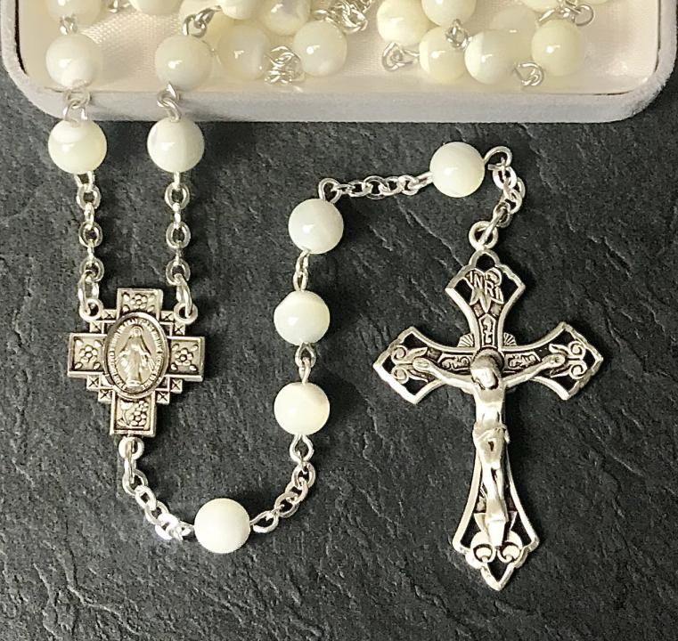 7mm ROUND MOTHER OF PEARL ALL STERLING EXCELSIOR ROSARY WITH STERLING SILVER WIRE, CHAIN, CROSS, & CENTER