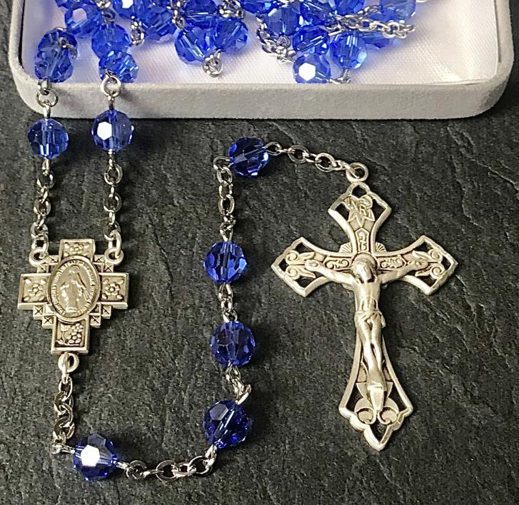 7mm ROUND SAPPHIRE AB SWAROVSKI ALL STERLING EXCELSIOR ROSARY WITH STERLING SILVER WIRE, CHAIN, CROSS, & CENTER