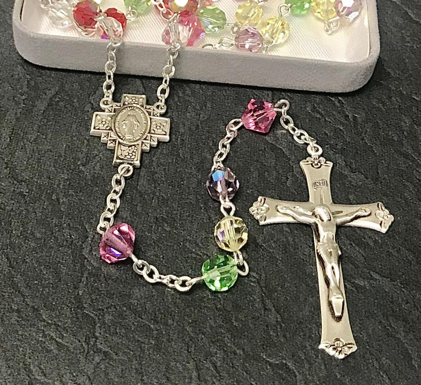 7mm ROUND MULTI AB SWAROVSKI ALL STERLING EXCELSIOR ROSARY WITH STERLING SILVER WIRE, CHAIN, CROSS, & CENTER