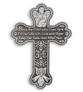 5.5in Pewter Baby Girl Wall Cross