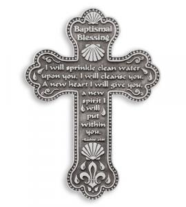 4in Pewter Baptism Blessing Wall Cross