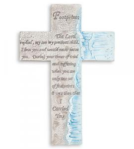 10 in Footprints Wall Cross with Prayer