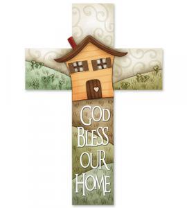 10in GOD BLESS HOME CROSS-HOUSE