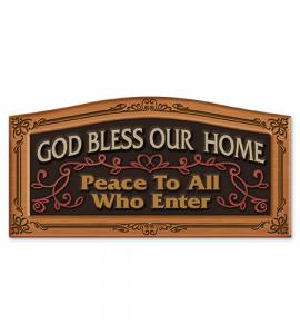 12in GOD BLESS OUR HOME WALL PLAQUE