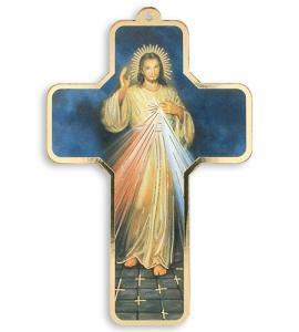 5in WOOD DIVINE MERCY CROSS
