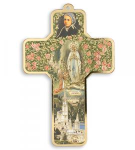 5in WOOD OUR LADY OF LOURDES CROSS