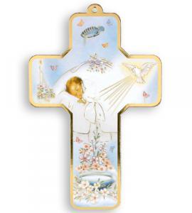 5in WOOD BAPTISMAL CROSS - BABY