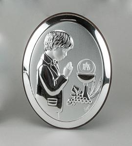 BOY FIRST COMMUNION 5in STERLING SILVER PLAQUE