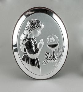 GIRL FIRST COMMUNION 5in STERLING SILVER PLAQUE