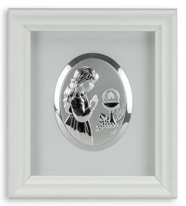 GIRL FIRST COMMUNION 6.5inX 6in STERLING SILVER FRAME